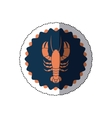 sticker stamp border with silhouette lobster vector image vector image