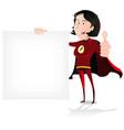 super girl hero holding white sign vector image vector image