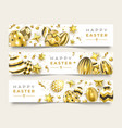 three easter horizontal banners with realistic vector image vector image