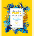 tropical floral summer party poster invitation vector image vector image