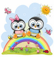 two penguins are sitting on the rainbow vector image vector image