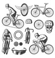 vintage cycling elements collection vector image vector image