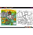 wild animals coloring page vector image vector image
