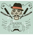 Skull with mustache and hat vector image