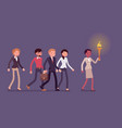 woman with a torch leading a group of people vector image