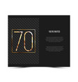 70th anniversary invitation card template vector image