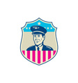 American Airline Pilot Aviator USA Flag Shield vector image vector image