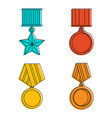 army medal icon set color outline style vector image