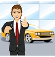 automobile salesman holding the key vector image vector image