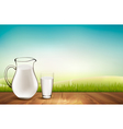 background with wooden floor and glass of milk vector image