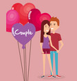 balloons helium with lovers couple avatars vector image vector image
