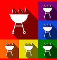 barbecue simple sign set of icons with vector image vector image
