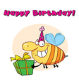 Birthday bee cartoon vector image vector image