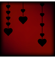 Black heart on red background vector image