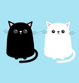 black white cute cat sitting kitten set cartoon vector image vector image