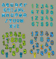 blue and green alphabets vector image