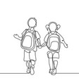 boy and girl going back to school with bags vector image vector image
