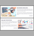 business analysis and online statistics banners vector image