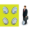 bussiness man on One-wheeled Self-balancing vector image vector image