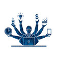busy businessman with many hands holding many item vector image