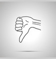 cartoon hand in dislike gesture simple outline vector image
