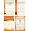 certificate template collection 4 vector image vector image