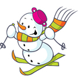 Cheerful snowman on skis vector image vector image