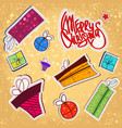 christmas paper stickers set vector image vector image