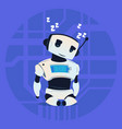 cute robot sleepng modern artificial intelligence vector image vector image