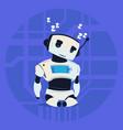 cute robot sleepng modern artificial intelligence vector image
