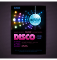 Disco poster neon background vector image vector image