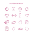 Fitness Icons Set in Outline Style vector image