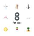 flat icon season set of aircraft coconut sundae vector image vector image