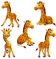 giraffe cartoon set collection vector image vector image