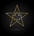 Golden Star with Canadian maple Leaf on black vector image