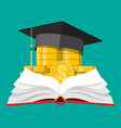 graduation cap book and gold coin vector image vector image