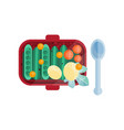 green pea pods tomatoes and potatoes at lunch box vector image vector image