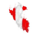grunge map peru with peruan flag vector image
