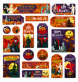 halloween holiday pumpkin monster tag and label vector image vector image