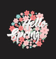 hello spring flower circle design template vector image