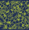 hibiscus flowers and tropical leaves fabric vector image vector image