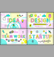 idea and start up promo banners with linear icons vector image vector image