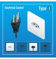 Isometric Switches and sockets set Type J AC vector image vector image