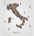 large group people in form italy map vector image vector image