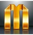 Letter metal gold ribbon - M vector image vector image
