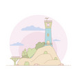 lighthouse on the island surrounded by vegetation vector image