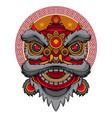 lion head dance logo vector image