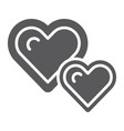 live hearts glyph icon love and like heart sign vector image