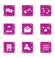 Mail reply icons set grunge style vector image