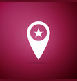 map pointer with star icon on purple background vector image vector image